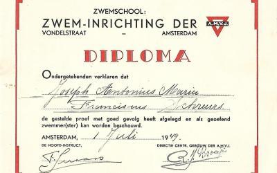 Diploma – Zwemschool: Zwem-Inrichting der A.M.V.J. Amsterdam (1949)