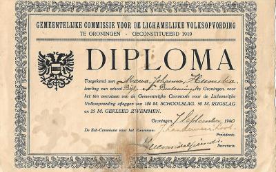 Diploma – Gemeentelijke Commissie voor de Lichamelijke Volksopvoeding te Groningen (1940)