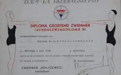 Diploma – Geoefend Zwemmer (Schoolzwemdiploma B) (1944)