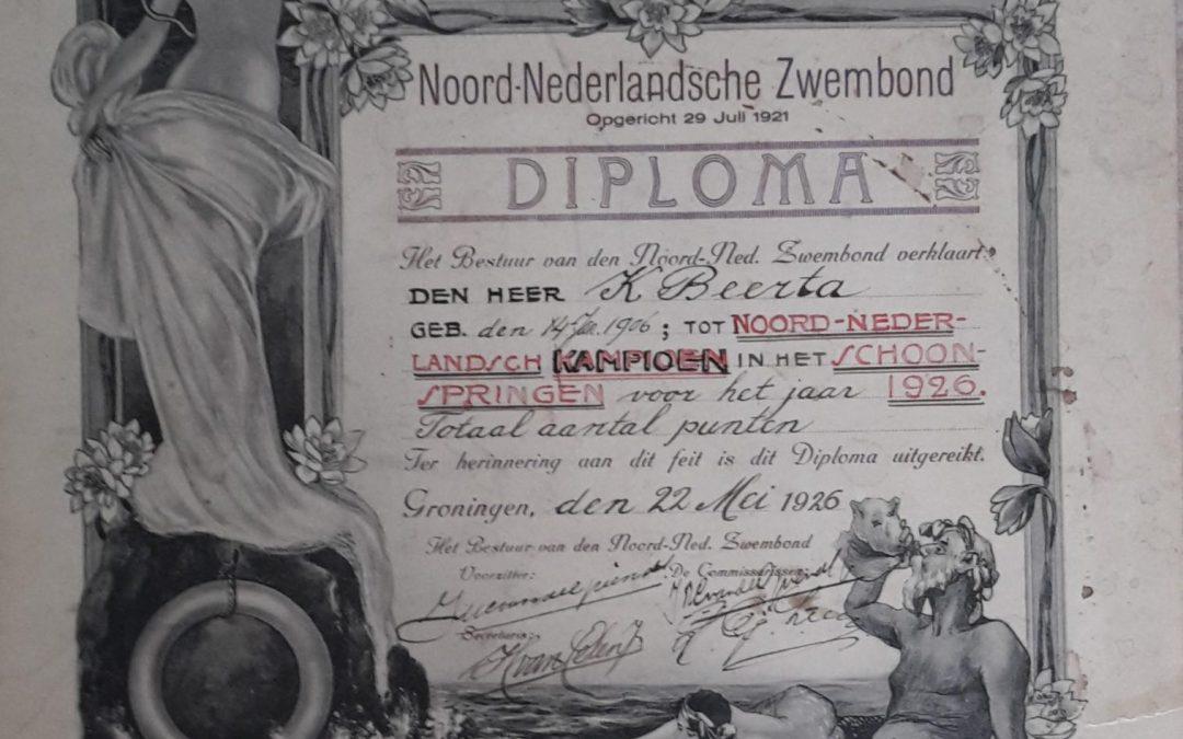 Diploma Schoonspringkampioen – Noord-Nederlandsche Zwembond (1926)
