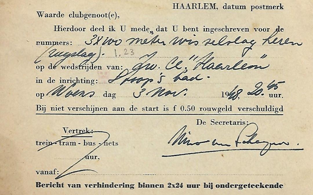 Briefkaart – Haarlemsche Zwem- en Poloclub De Waterratten (1948)