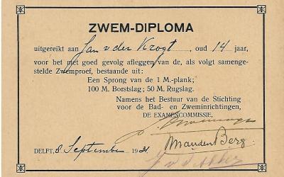 Diploma – Gemeentelijke Zweminrichting Delft (1931)