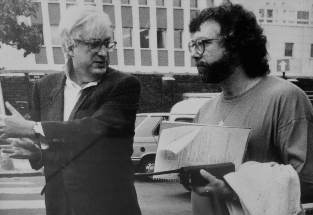 Avec Bertrand Tavernier, sur le tournage de L. 627 - collection personnelle du scénariste