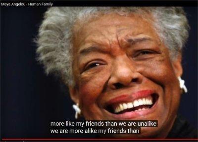 Maya Angelou - Human Family (0:55-1:45)