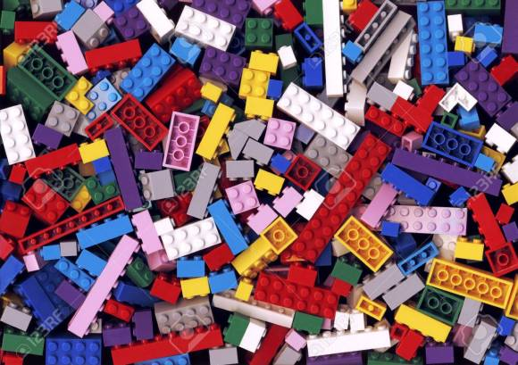 Lot Of Various Colorful Lego Blocks Background. Many Assorted ...
