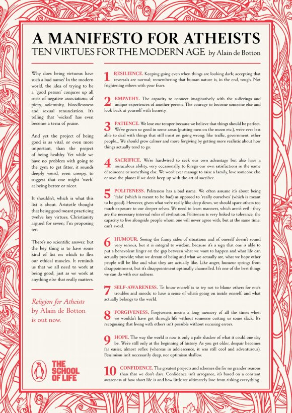 """""""A Manifesto for Atheists - Ten Virtues for a Modern Age"""" by Alain de Botton"""
