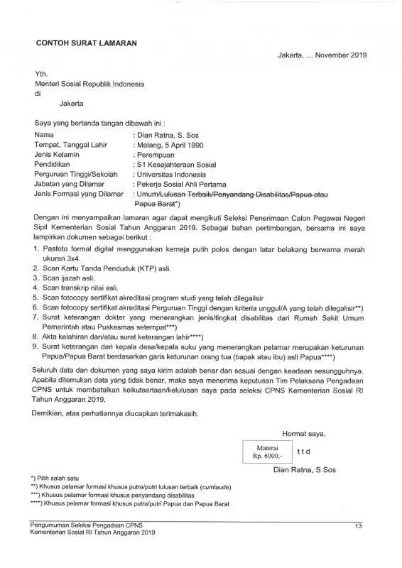 Contoh Surat Lamaran CPNS Kementerian Luar Negeri