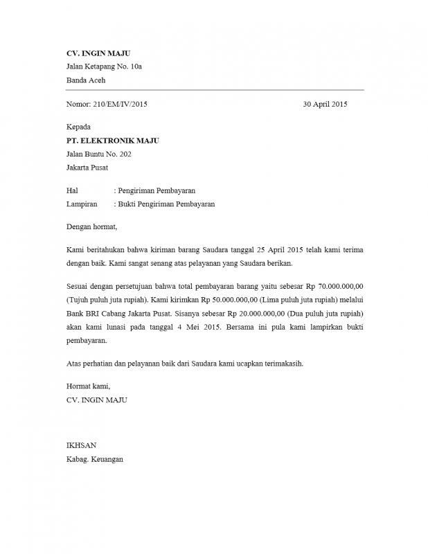 Contoh Surat Pemberitahuan Resmi Pengiriman Pembayaran Barang