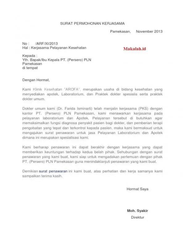 Contoh Surat Resmi Perusahaan Untuk Penawaran Kerjasama