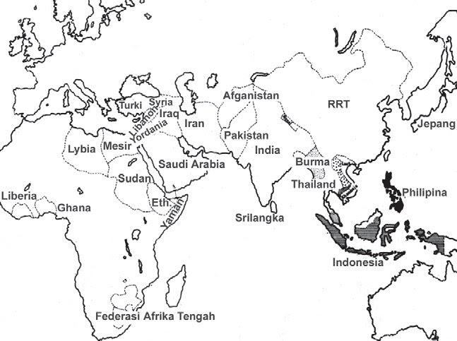 Peta Asia Tenggara Hitam Putih