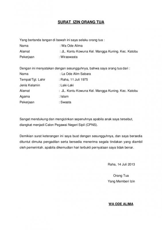 Contoh Surat Izin Orang Tua Mendaftar CPNS