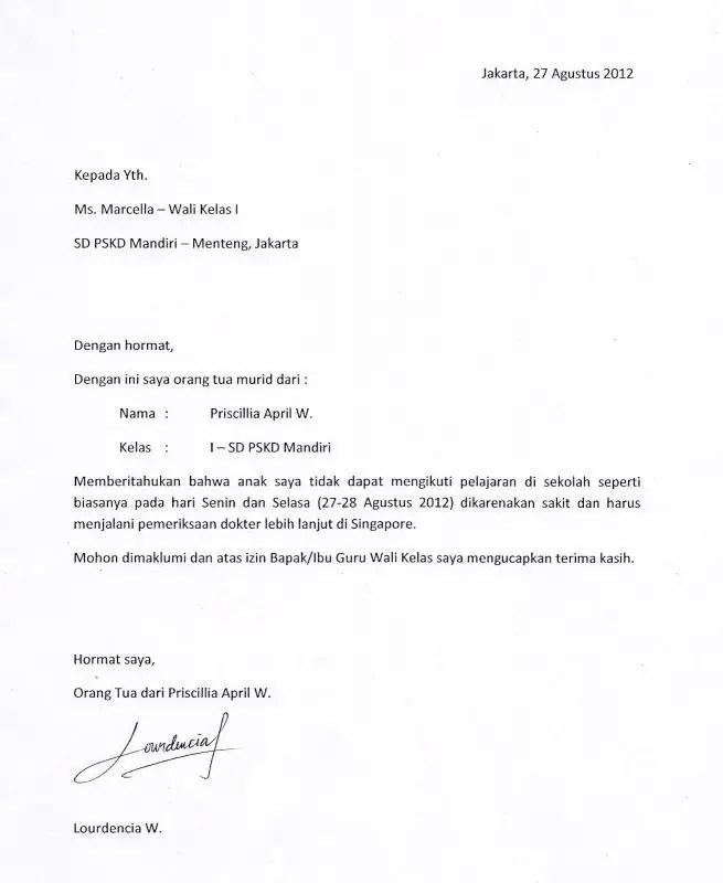 Contoh Surat Izin Tidak Masuk Kerja Untuk Melakukan Acara Lamaran