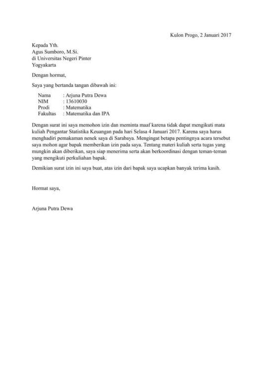 Contoh Surat Izin Tidak Masuk Kuliah Karena Menjadi Panitia Karang Taruna