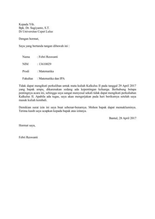 Contoh Surat Izin Tidak Masuk Sekolah Karena Mengurus KTP