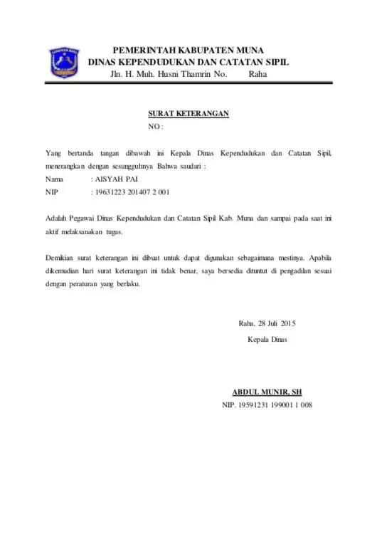 Contoh Surat Keterangan Catatan Sipil