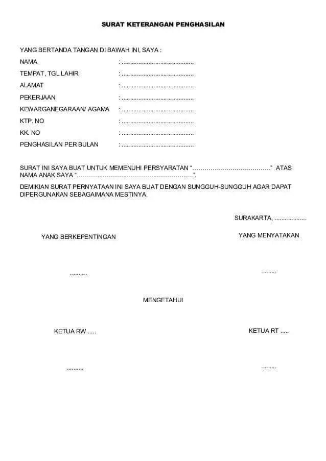 Contoh Surat Keterangan Penghasilan Orang Tua Untuk Beasiswa