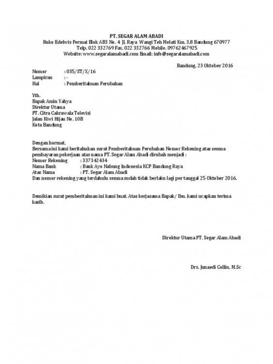 Contoh Surat Pemberitahuan Pemindahan Kantor