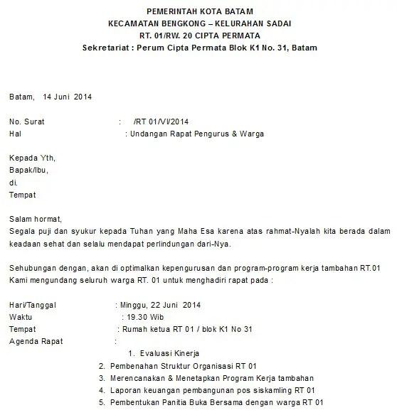 Contoh Surat Pengantar Undangan Rapat