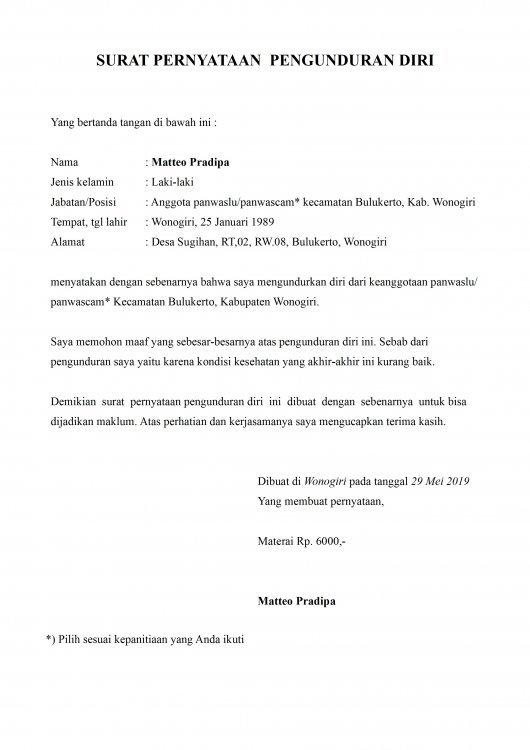 Contoh Surat Pengunduran Diri Kepada Kepala Bagian SDM Dan Umum