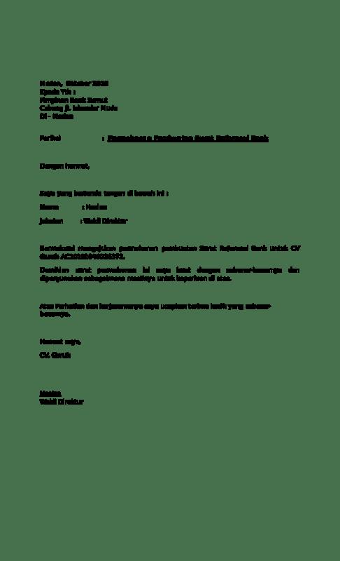 Contoh Surat Permohonan Referensi Bank Bjb
