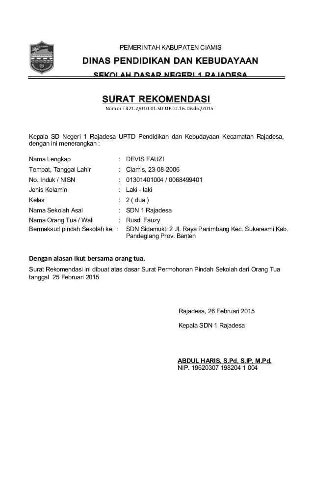 Contoh Surat Rekomendasi Untuk Pindah Tugas