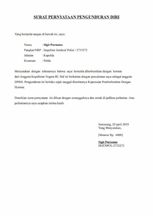 Contoh Surat Resign Dari Pabrik 2