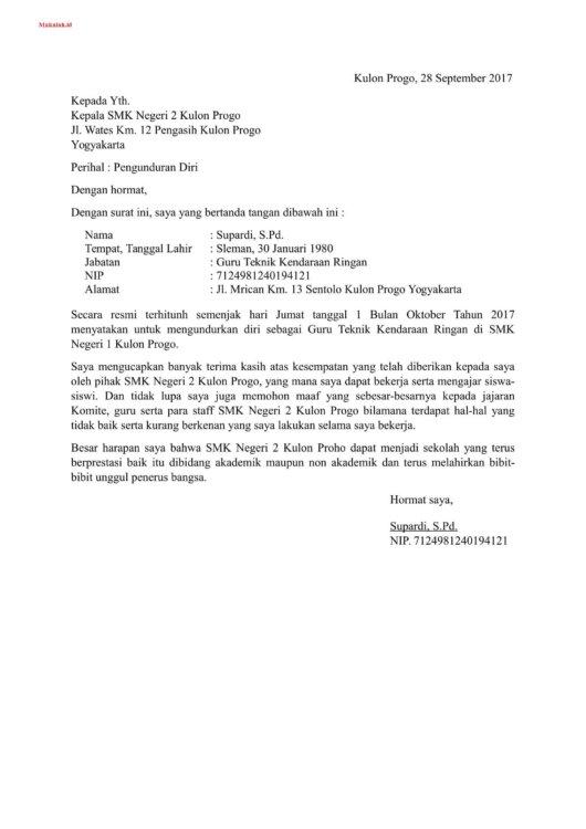 Contoh Surat Resign Guru