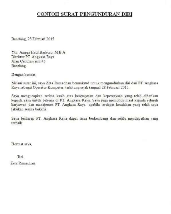 Contoh Surat Resign Karyawan Kontrak 2