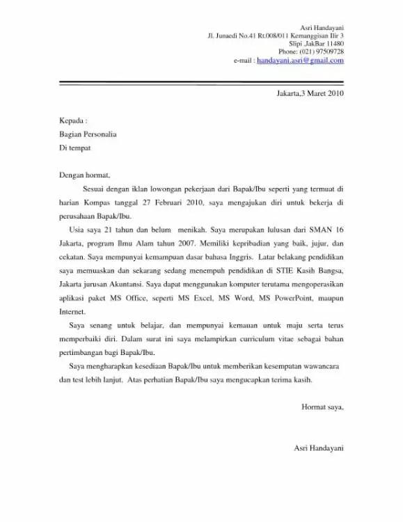 Contoh Surat Sebagai Staf Administrasi Niaga