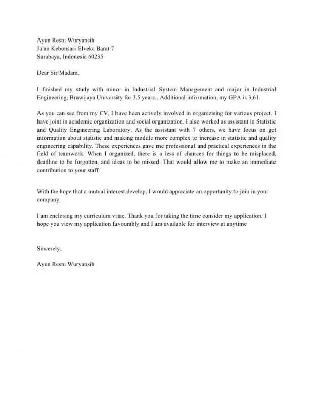 Cover Letter Dengan Profil Singkat