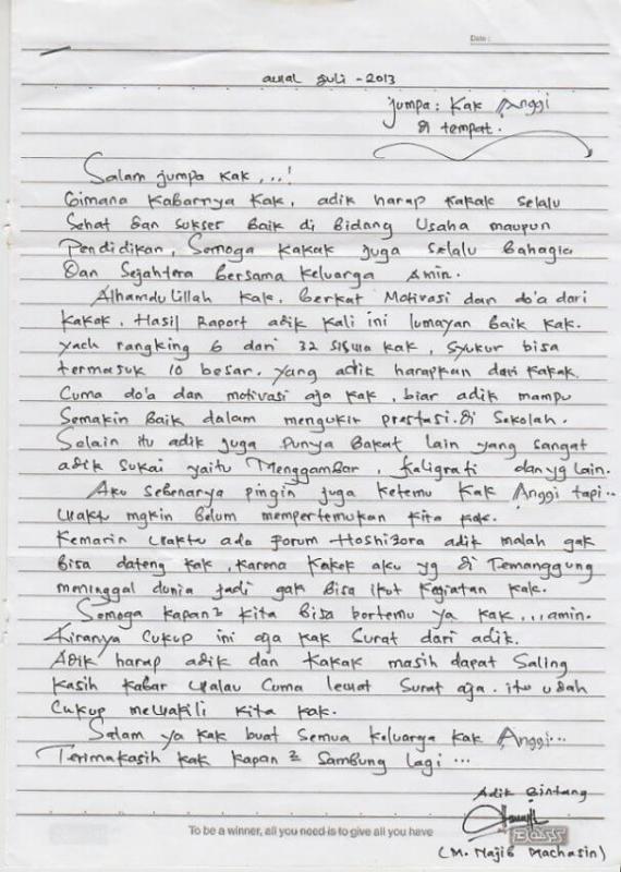 Surat Cinta Untuk Adik