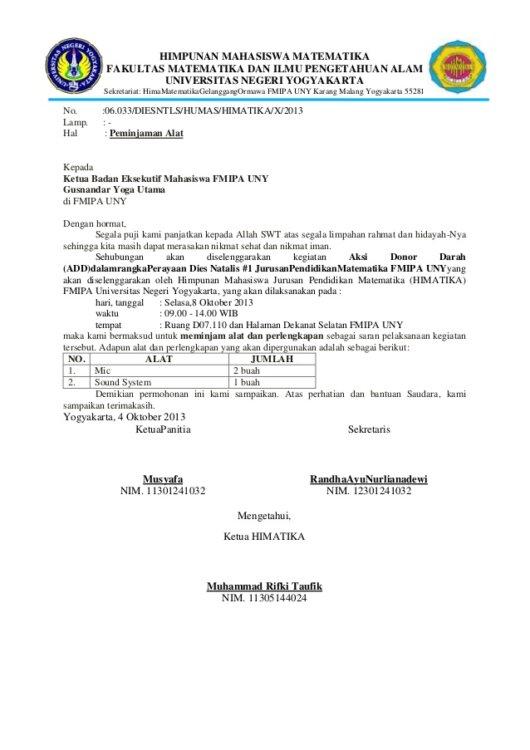 Surat Peminjaman Barang Dari OSIS