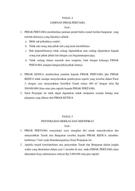Contoh Pasal Pasal Dalam Surat Perjanjian Jual Beli Tanah Melalui Agen Properti