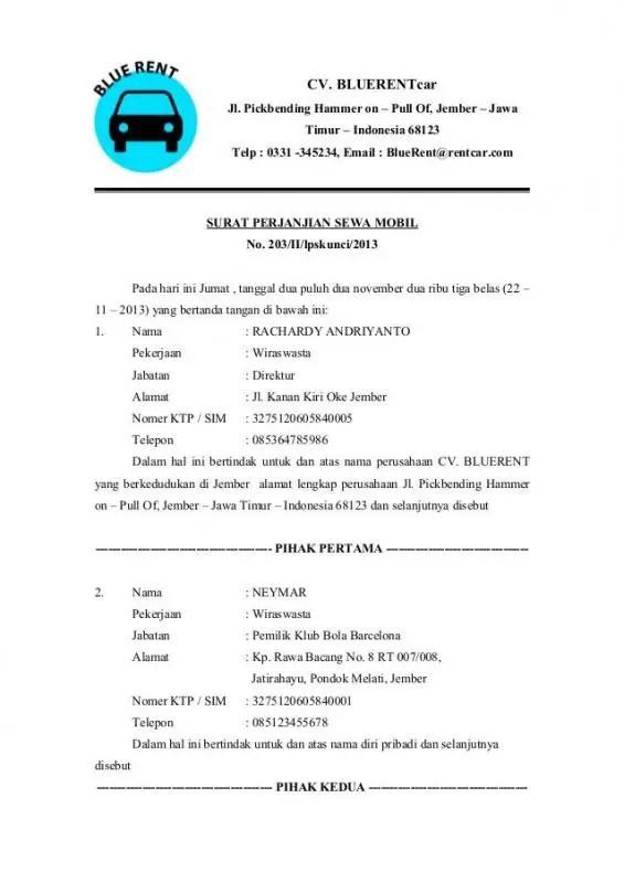 Contoh Proposal Penawaran Sewa Mobil Ke Perusahaan