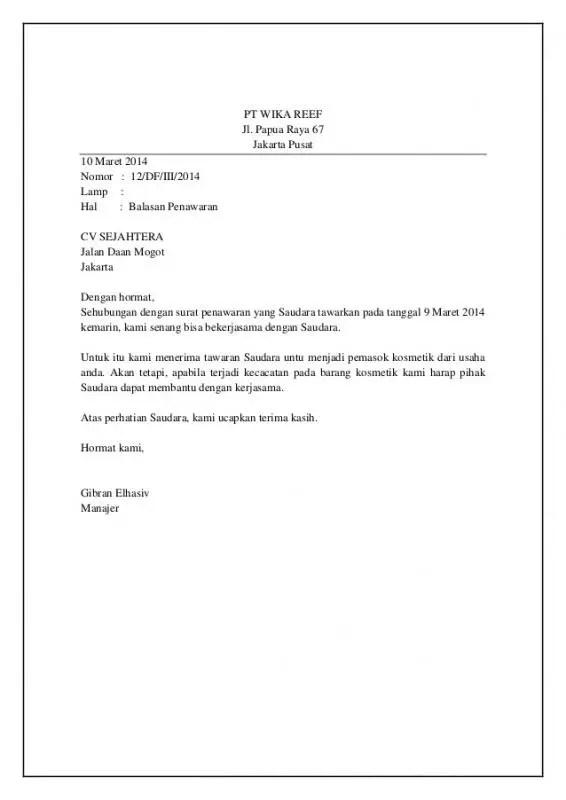 Contoh Surat Balasan Penawaran Jasa