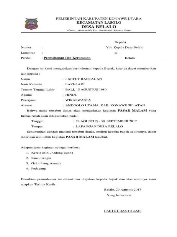 Contoh Surat Izin Kegiatan Ke Kepala Desa Surat Pengantar Izin Keramaian