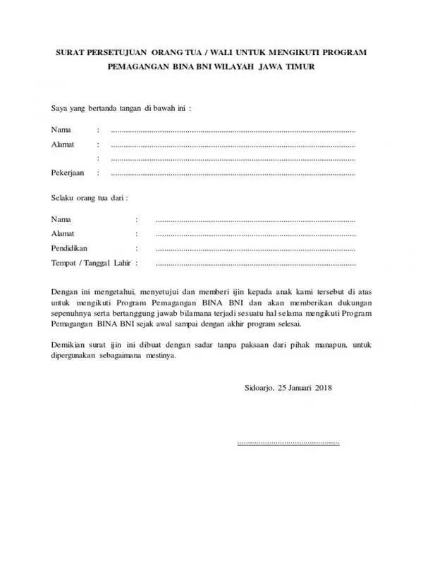 Contoh Surat Izin Orang Tua Untuk Mengikuti Program Magang