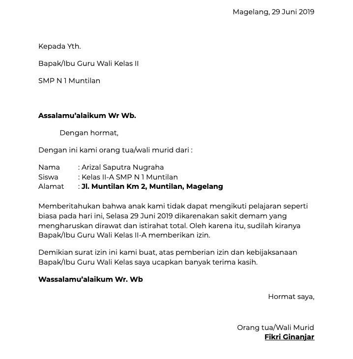 Contoh Surat Izin Sakit Untuk SMP