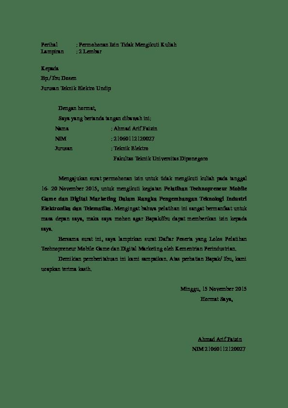 Contoh Surat Izin Tidak Masuk Karena Lembur Kerja