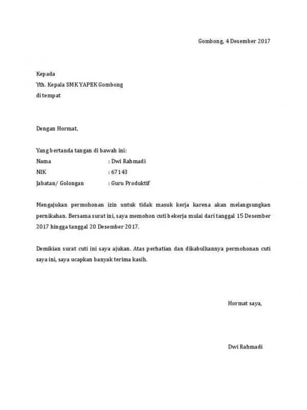 Contoh Surat Izin Tidak Masuk Kerja Karena Akan Melangsungkan Pernikahan 1