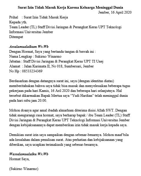 Contoh Surat Izin Tidak Masuk Kerja Karena Kedukaan Versi 2
