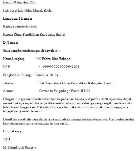 Contoh Surat Izin Tidak Masuk Kerja Karena Urusan Mendesak