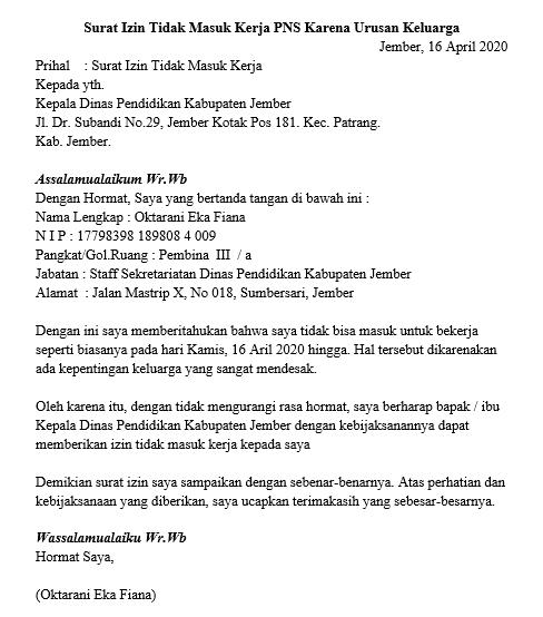 Contoh Surat Izin Tidak Masuk Kerja PNS Versi 1