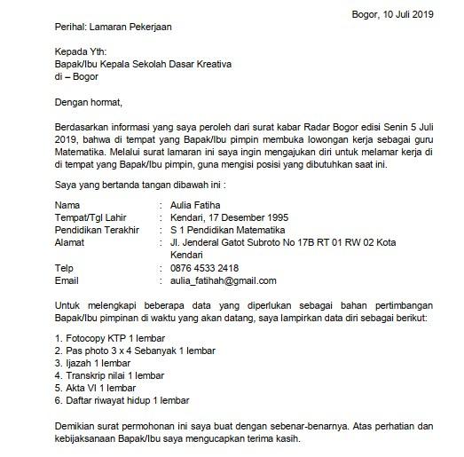 Contoh Surat Lamaran Kerja Guru Sekolah Dasar SD