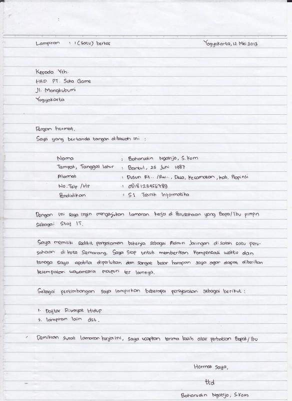 Contoh Surat Lamaran Kerja Simple Tulis Tangan Untuk Karyawan Fashion Design