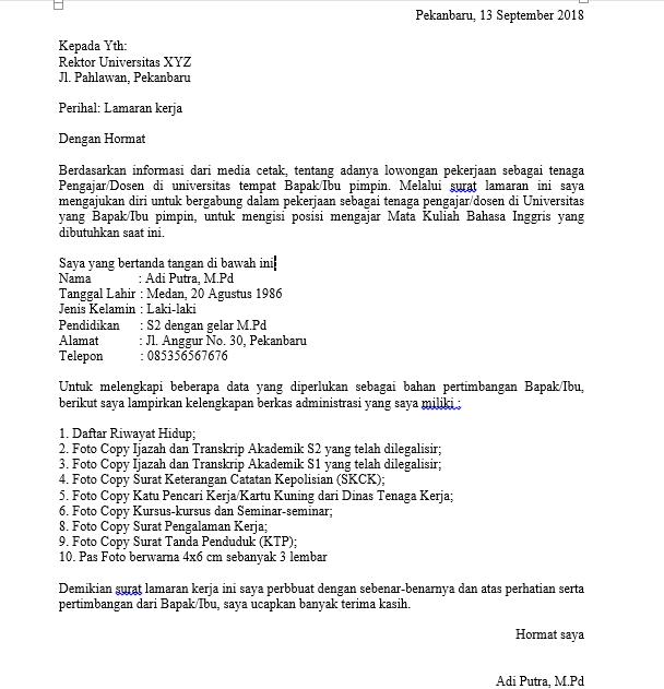 Contoh Surat Lamaran Kerja Simple Via Email Sebagai Dosen