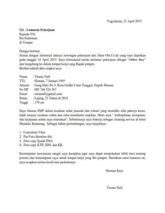 Contoh Surat Lamaran Kerja Di Hotel Sebagai Office Boy