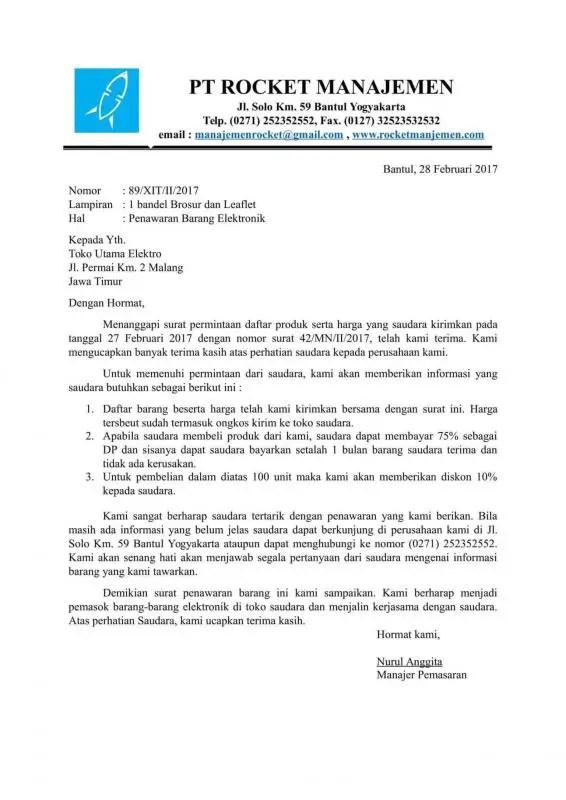 Contoh Surat Penawaran Barang Elektronik Kepada Toko