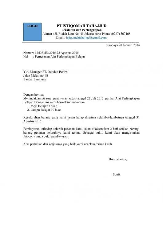 Contoh Surat Penawaran Barang Elektronik Untuk Sekolah