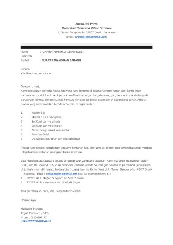 Contoh Surat Penawaran Barang Furniture Rumah Tangga